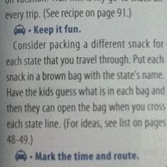 No link to follow this but it's a great idea when we'll be driving through a few states!