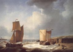 Fisherfolk_and_Ships_by_the_Coast by Abraham Hulk - Anglo-Dutch Painter born in London