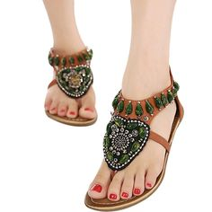 Amiley® Women Bohemian Beads Ethnic Flat Dress Sandals Ankle Strap Beach Shoes ** You can get more details by clicking on the image.