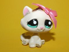 Rare Littlest Pet Shop LPS - Travel Pet White Tabby Kitty Cat #2079 #Hasbro