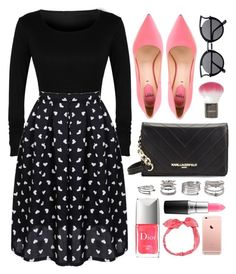 """""""Chic Look"""" by luvsassyselfie ❤ liked on Polyvore featuring Karl Lagerfeld, Fendi, Topshop, MAC Cosmetics, Christian Dior, Forever 21, Carole, Pink, black and rose"""