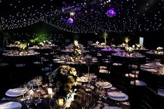 Twinkle lights transform a ballroom and create a night under the stars!
