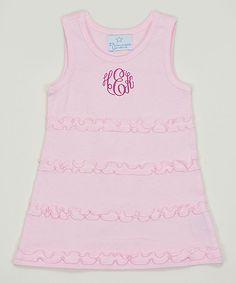 Pink Ruffle Monogram Dress - Infant, Toddler & Girls
