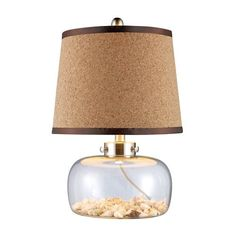 Margate Table Lamp In Clear Glass With Shells And Natural Cork Shade - D1981