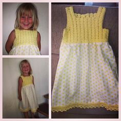 So happy with her new dress!  #homemade #crochet #sewing #dalegarn #sohappy #newdress #madebyme #daughter #proud