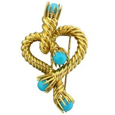 jean schlumberger jewelry | TIFFANY and CO Jean Schlumberger Gold Turquoise Heart Brooch Pin at ...