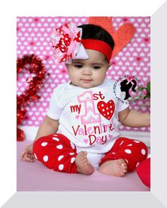 My 1st Valentine's Day - Girls Chevron Applique First Valentine's Day Shirt & Matching Hair Bow Set by AverysAlley1 on Etsy https://www.etsy.com/listing/219912290/my-1st-valentines-day-girls-chevron