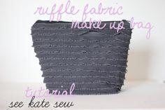 Ruffle fabric make up bag tutorial
