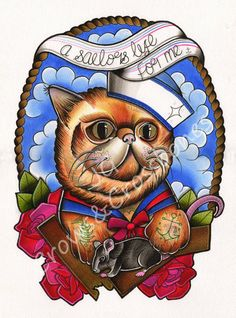 A Sailors Life for Me -  Polydactyl Cat -  A4 Tattoo Flash Art Print on Etsy, $15.80