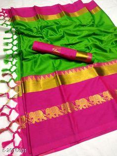 Sarees Attractive Soft Cotton Silk Saree Fabric: Saree - Soft Cotton Silk Blouse - Soft Cotton Silk Size: Saree Length - 5.5 MtrBlouse Length - 0.8 Mtr Work: Zari Border Work Country of Origin: India Sizes Available: Free Size   Catalog Rating: ★4 (440)  Catalog Name: Tiya Solid Cotton Silk Sarees with Tassels and Latkans CatalogID_266676 C74-SC1004 Code: 485-2016801-6051