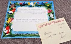 Vintage 1957 GPO Greetings Telegram & Envelope - Barbara Jones Ephemera, Envelope, Congratulations, Amp, Birthday, Vintage, Envelopes, Birthdays, Vintage Comics
