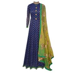 Elegant royal blue stitched frock suit featuring in benarasi buti-Mohan's the chic window