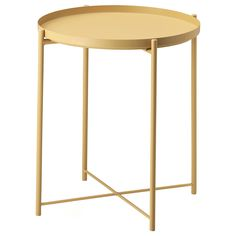 IKEA - GLADOM, Tray table, light yellow, , You can use the removable tray for serving.The tray's edges make it easy to carry and reduces the risk of glasses or bowls sliding off.The surface is durable and easy to clean, since it's made from powder-coated steel.You can easily lift and move the entire table, for example from the sofa to the reading chair.