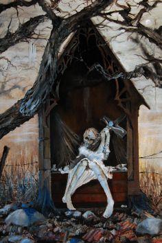 Dark gothic art.  Artist: Meindert Sterk. Dark Art Paintings, Dark Gothic Art, Necromancer, Dark Fantasy, Zombies, Painting & Drawing, Creepy, Horror, Drawings