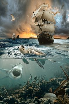 """Sundown by Jan Staes on Artist description: """"Sundown"""" - Photoshop composite. I made this approximately one year ago. Ship Paintings, Landscape Paintings, Old Sailing Ships, Pirate Art, Pirate Ships, Ghost Ship, Ship Art, Tall Ships, Pirates Of The Caribbean"""
