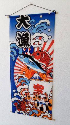 Maneki Neko tapestry hanging wall Koinobori 32x14 by Morondanga
