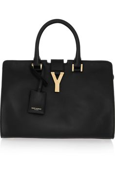 the classic SAINT LAURENT Cabas Y leather tote in black <3