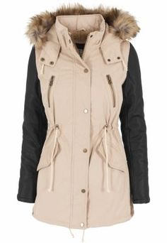 Urban Classics Jacke Leather Imitation Sleeve Parka - Blouson Femme, Multicolore (Sand/Blk) - X-Small (Taille fabricant: X-Small). Parka, Urban Classics, Fur Trim, Lady, Canada Goose Jackets, Raincoat, Winter Jackets, Stylish, Sleeves