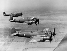 Australian Bristol Beaufighters of No. 31 Squadron, RAAF in flight. 31 Squadron saw action against the Japanese in the South West Pacific theater of World War II. During the war the squadron served in long-range fighter and ground-attack missions. Navy Aircraft, Aircraft Photos, Ww2 Aircraft, Military Aircraft, Australian Defence Force, Royal Australian Air Force, Bristol Beaufighter, Air Festival, Ww2 Planes