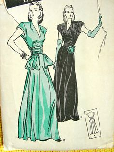 Vintage 1940's Butterick Pattern 3769 // DRAMATIC by anne8865, $65.00