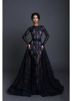 Tarik Ediz - 93608 Allover Lace Long Fitted Gown with Full Overskirt Black Wedding Gowns, Fairy Wedding Dress, Classic Wedding Dress, Wedding Dress Sleeves, Black Weddings, Glamorous Evening Dresses, Elegant Dresses, Pretty Dresses, Evening Gowns