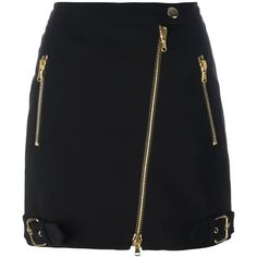 Moschino biker skirt (2.345 RON) ❤ liked on Polyvore featuring skirts, mini skirts, black, moschino skirt, moschino, bike skirt, short mini skirts and short skirts