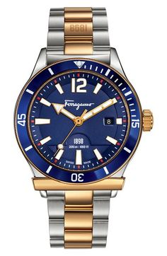 Free shipping and returns on Salvatore Ferragamo '1898 Sport' Bracelet Watch, 43mm at Nordstrom.com. A triple-link bracelet brings a touch of sophistication to a sporty, durably crafted watch designed with a unidirectional rotating aluminum bezel, bold indexes and a scratch-resistant sapphire crystal face for easy timekeeping. The Swiss-made style can handle depths of up to 200 meters, making it ideal for water sports enthusiasts.