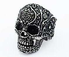 Stainless Steel Floral Design Skull Ring