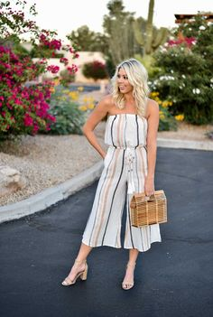 bd6332e3f052 Erin Elizabeth of Wink and a Twirl shares this Vici Dolls striped jumpsuit  and bamboo bag perfect for summer