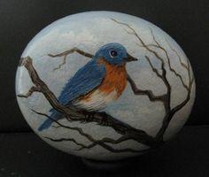 Hand Painted Rock Art Paintings Bluebird Martha Winenger | eBay