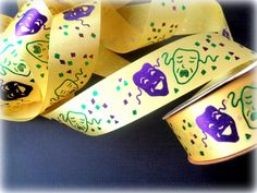 "Mardi Gras Carnival Masks Ribbon Trim, Yellow, 1 3/8"" inch wide, 1 yard, For Gift Wrapping, Scrapbook, Decor, Accessories, Mixed Media by PrimroseLaceRibbon on Etsy"