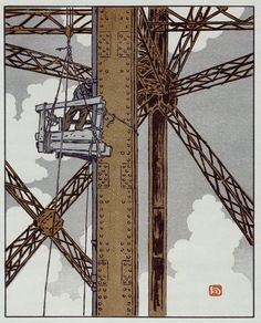 "Henri Rivière: ""Worker in Tower"", 1902.  From 36 Views of the Eiffel Tower 1888-1902."