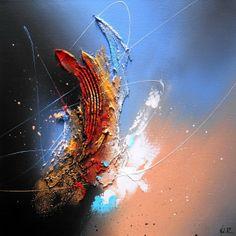 """Frontier"" relief acrylic on canvas 40x40cm (16""x16"") Nathalie ROBERT."