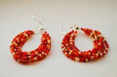 red beaded earrings boho jewelry oval by LumaHandmadeJewelry Red Jewelry, Boho Jewelry, Jewellery, Beaded Earrings, Crochet Earrings, Valentine Gifts, Dangles, Jewelry Making, Wire