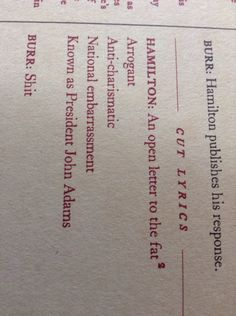 "Reasons to love Burr: ""shit"""