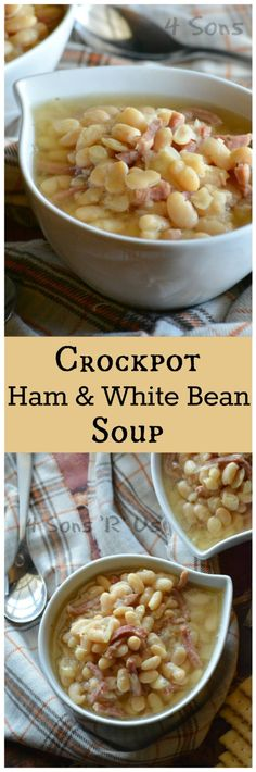 crockpot-ham-white-bean-soup-pin Crockpot Ham And Beans, Soup Crockpot Recipes, Crock Pot Beans, Turkey Crockpot, Crockpot Ideas, Bean Soup Recipes, Crockpot Dishes, Crock Pot Soup, Cooker Recipes