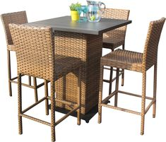 TK Classics LAGUNAPUBKIT4 5 Piece Laguna Pub Table Set with Barstools Outdoor Wicker Patio Furniture * Click image for more details. (This is an affiliate link) #OutdoorFurniture