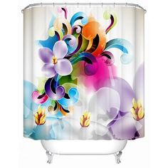 Clip Art Colored Flowers Print 3D Bathroom Shower Curtain on sale, Buy Retail Price 3D Shower Curtains at Beddinginn.com