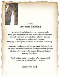 Scroll Ten: Accurate Thinking.