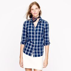 """J. Crew Boy Shirt Indigo Plaid Buttondown A must-have classic piece! Still unsure about parting with but I don't like how structured it is - I tend to reach for my softer button-down. Tag has gone blue from indigo dye. Some slight wash wear. Otherwise in great shape. True navy/indigo color. I am 34"""" across bust and it fits perfect. If you are unsure about fit please ask questions I am more than happy to help!  J. Crew Tops Button Down Shirts"""