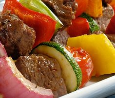 Flank Steak, Tomato and Zucchini kabobs