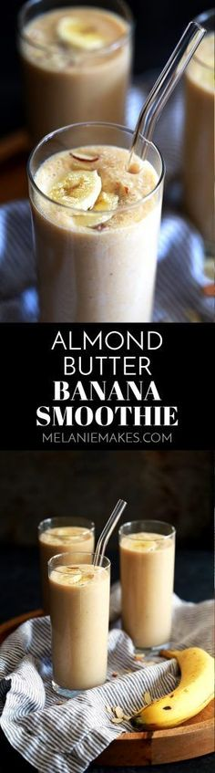 This quick and delicious Almond Butter Banana Smoothie will quickly become a breakfast or snack favorite. Using just three ingredients, it takes just minutes to prepare.