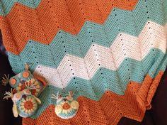 Made to order Handmade Crochet chevron baby afghan by GirlCanHook