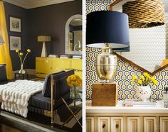 A dramatic use of Yellow and neutral tones (the first with bold color blocks and texture, and the second with pattern) creates two very different yet equally impressive rooms. via www.designloversblog.com