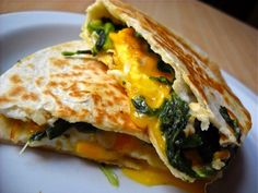 egg florentine quesadillas - Budget Bytes