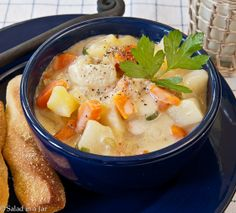 Vegetable Cheese Chowder creamy potato soup with carrots, celery and ...