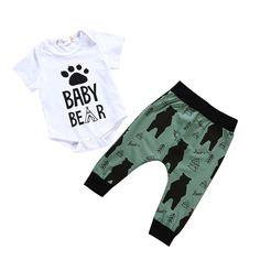 2018 Summer Newborn Boy Baby Bear Kids Set Romper+Long Green Pants Out – eosegal Baby Bear Outfit, Baby Boy Outfits, Kids Outfits, Teacher Outfits, Romper Long Pants, Baby Girl Pants, Baby Jeans, Baby Boy Fashion, Kids Fashion