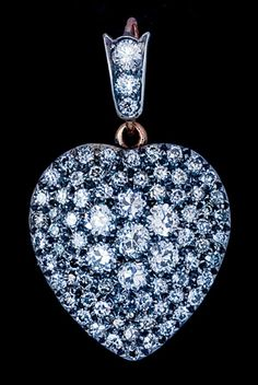 antique diamond heart pendant necklace locket. I love a diamond heart locket, I wear one almost everyday, they are so special. KMW