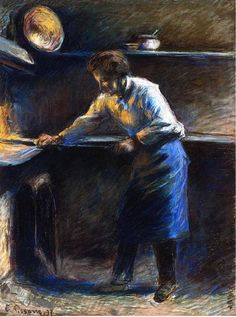 chasingtailfeathers:  Camille Pissarro  Eugene Murer at His Pastry Oven, 1877. Pastel