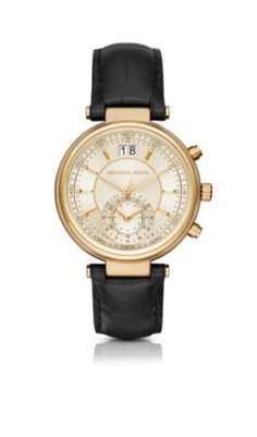 7b43de202d2b Michael Kors Women s Sawyer Black Watch A black leather strap allows the  gold-tone and champagne sunray dial of the Michael Kors Sawyer watch to  stand